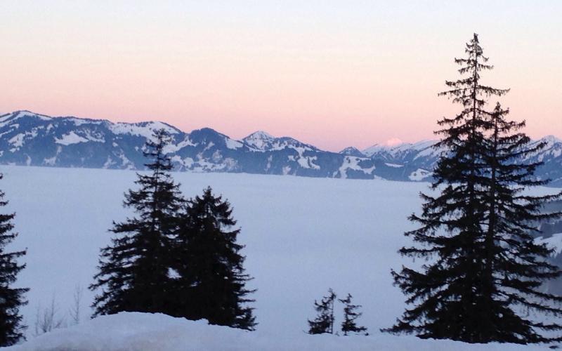 Nebliges Unterland vor dem Sonnenuntergang | Haus Alpenblick in Oberjoch